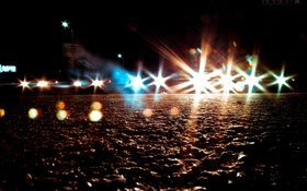 Обои асфальт, свет, машины, ночь, камни, земля, фары