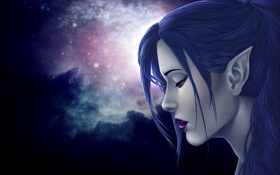 Картинка blue hair, female, Elf, sadness, stars