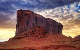 Обои облака, скала, рассвет, юта, долина монументов