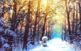 Картинка зима, лес, снег, деревья, природа, улыбка, знак