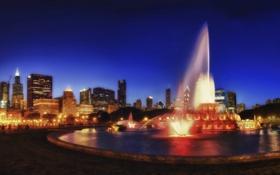 Обои ночь, огни, парк, фонари, фонтан, америка, чикаго
