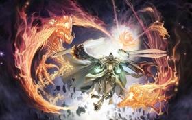 Обои свет, осколки, драконы, духи, демон, Воин, клинки