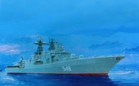 Обои вода, рисунок, корабль, большой, арт, порт, катер