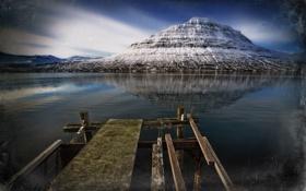 Картинка горы, мост, озеро, стиль