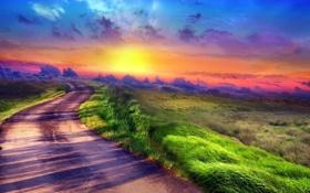 Обои закат, поле, небо