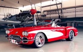 Обои car, красный, самолет, обоя, ангар, corvette, автомобиль
