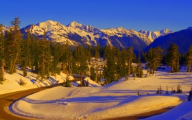 Обои зима, дорога, горы, природа, фото