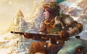 Обои девушка, снег, горы, оружие, перо, шапка, кролик