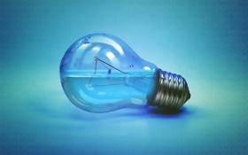 Картинка лампочка, вода, креатив, фон, голубой