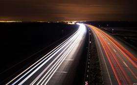 Обои свет, ночь, движение, трасса, Дорога, фризлайт