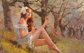 Картинка природа, платье, девушка, деревья