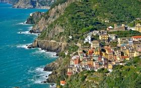 Картинка море, пейзаж, скалы, дома, Италия, Риомаджоре, Чинкве-Терре