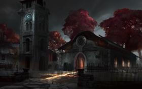 Обои кладбище, часовня, гробы, часы, ночь, забор