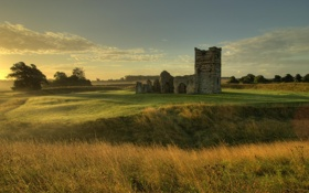 Картинка руины, трава, небо, лето, поле, пейзаж, Knowlton Church