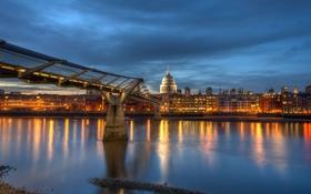 Обои ночь, англия, лондон, london, night, england, millennium bridge