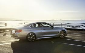 Обои Солнце, Вода, Авто, Причал, BMW, Машина, Серый