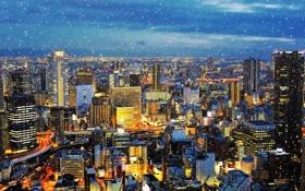 Обои зима, снег, город, огни, япония, вечер, Osaka