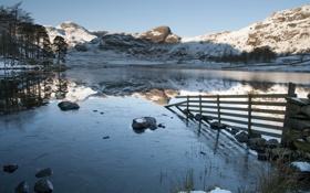 Картинка пейзаж, озеро, забор