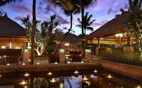 Обои отель, ресторан, настроение, вечер, пальмы