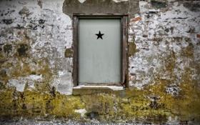Обои стена, звезда, окно