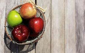 Обои зеленый, фон, яблоки, красные, ваза