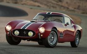 Картинка красный, фон, Феррари, Ferrari, классика, передок, 1957