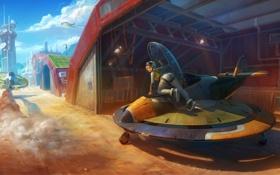 Картинка поза, Девушка, ангар, вышка, стимпанк, летательный аппарат
