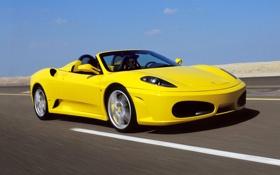 Обои car, F430, Ferrari, road, yellow, speed, Spider
