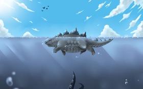 Обои море, облака, щупальца, ящер, плавание, Godzilla