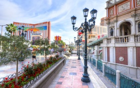 Обои цветы, улица, дома, утро, Лас-Вегас, фонарь, США