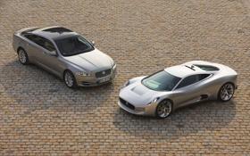 Обои ягуар, тротуар, дуэт, мостовая, Jaguar C-X75