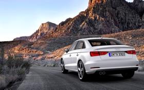 Обои Audi, Авто, Горы, Ауди, Белый, День, Седан