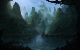 Картинка горы, туман, озеро, камни, скалы, человек, арт