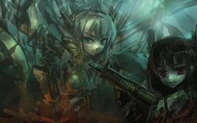 Обои оружие, девочки, аниме