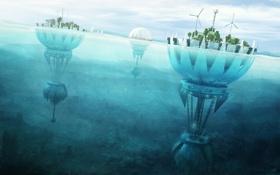 Обои мельницы, водный мир, поселения