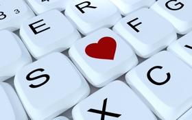 Обои сердце, клавиши, разное