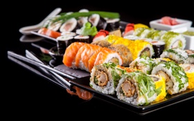 Обои суши, sushi, начинка, роллы, зелень, rolls, Japanese kitchen