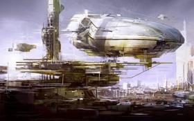 Обои город, корабли, Deloading