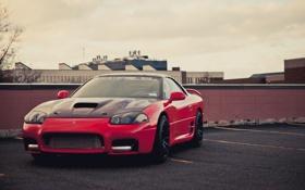 Обои небо, Mitsubishi, парковка, red, красная, мицубиси, 3000GT