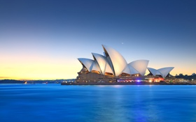 Обои небо, луна, Австралия, залив, Сидней, сумерки, Оперный театр