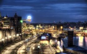 Картинка ночь, город, фото, дороги, HDR, фонари, Швеция