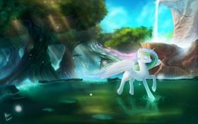 Обои мультфильм, река, пони, деревья, скала.водопад