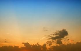 Картинка небо, облака, свет, пейзаж, закат, природа, краски