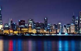 Картинка небоскребы, Чикаго, панорама, USA, Chicago, мегаполис, illinois