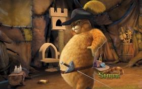 Картинка Шпага, Шрек, Shrek, Кот В Сапогах, Шляпа, мультфильм, Антонио Бандерас