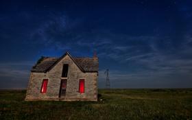 Картинка поле, пейзаж, ночь, дом