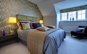 Обои дизайн, дом, стиль, вилла, интерьер, коттедж, спальня
