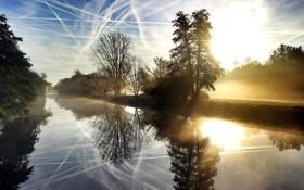 Картинка небо, туман, река, утро