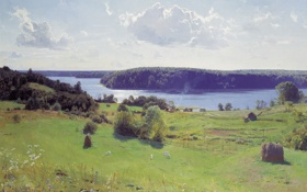 Обои пейзаж, долина, небо, лето, луг, Дмитрий Белюкин, Светлый покой