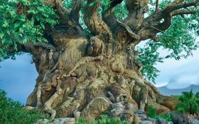 Обои животные, дерево, ветви, фигуры, резьба